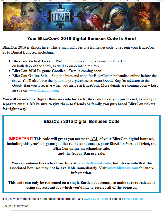 BlizzCon 2016 Virtual Ticket and Goody Bag Now Available