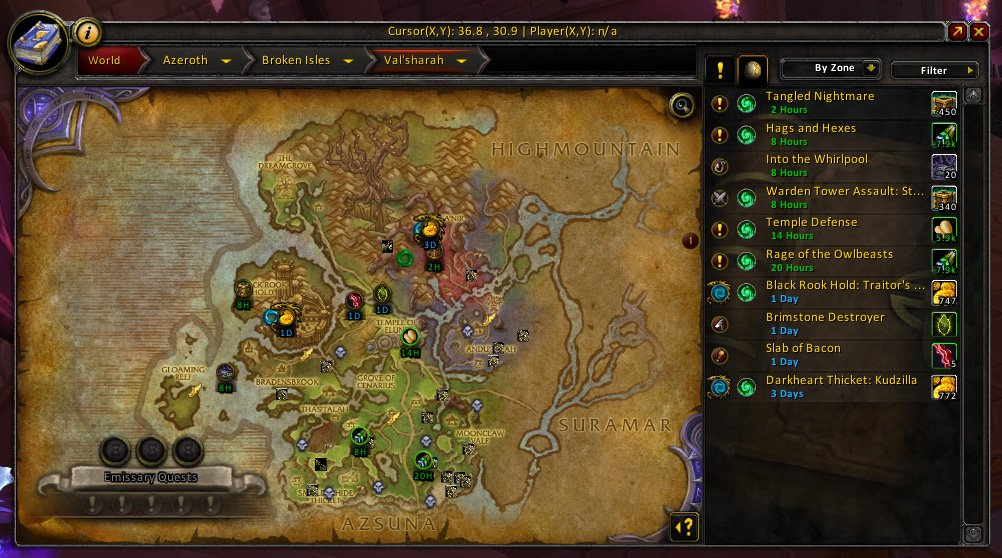World Quest Group Finder Addon, World Quest Tab Addon, Mythic Helya