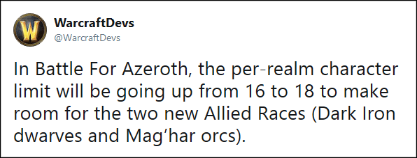 In Battle For Azeroth, the per-realm character limit will be going up from 16 to 18 to make room for the two new Allied Races (Dark Iron dwarves and Mag'har orcs).